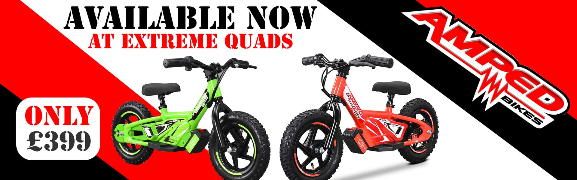 amped electric balance bikes available at extreme quads